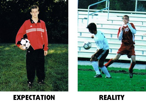 Next I thought I might be a soccer superstar. Unfortunately my expectations of how I played (left) did not match with the reality of how I actually played (right).