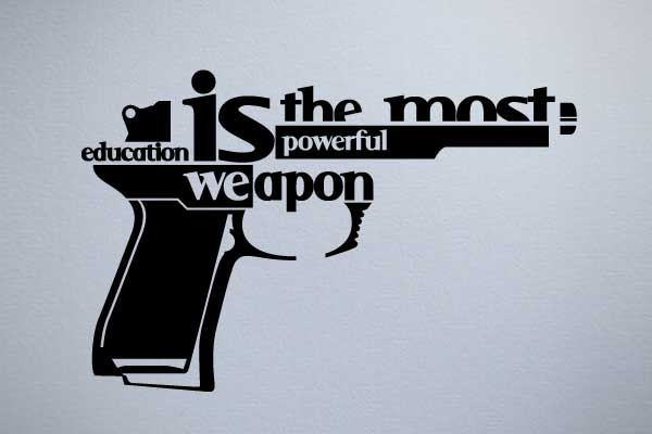 education gun typography art