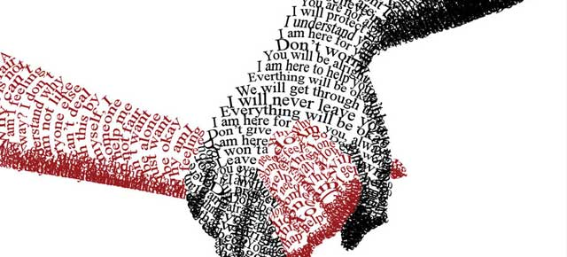 holding hands typography art