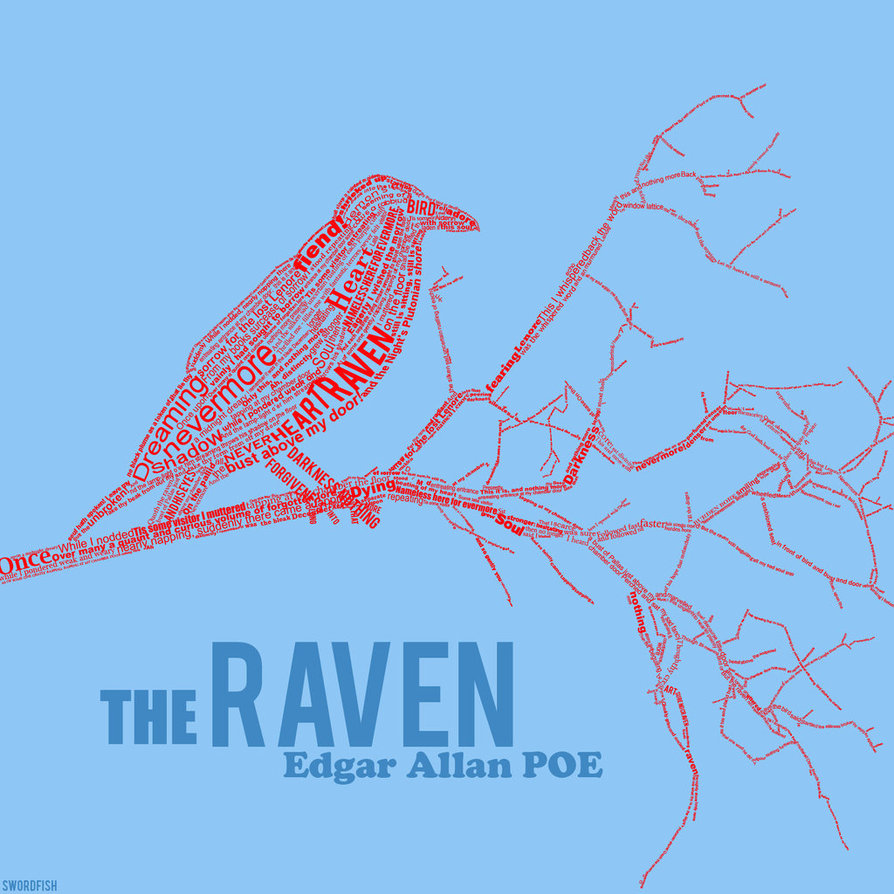 the raven edgar allan poe typography art
