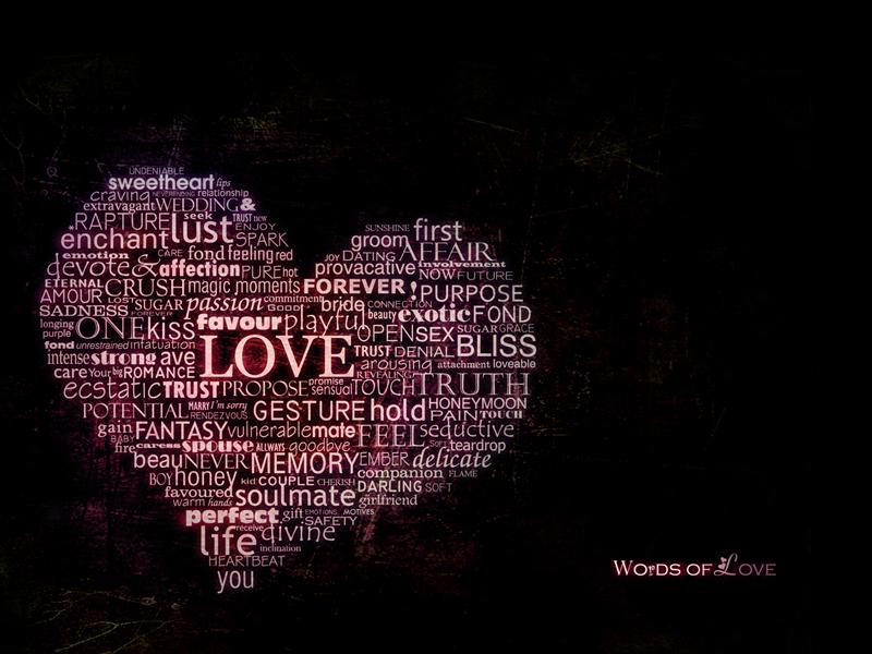 words of love typography art
