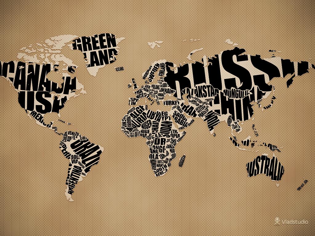 world map typography art