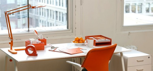 work happy orange desk