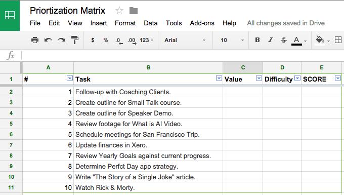 prioritization matrix step 1