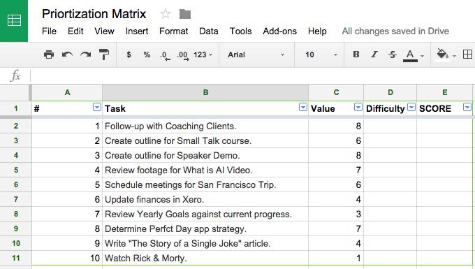 prioritization matrix step 2