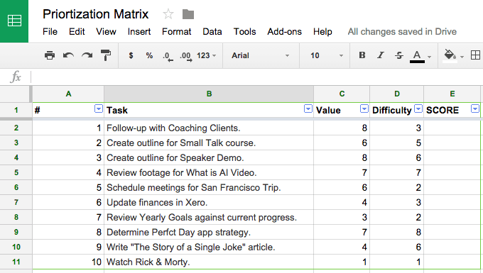 prioritization matrix step 3