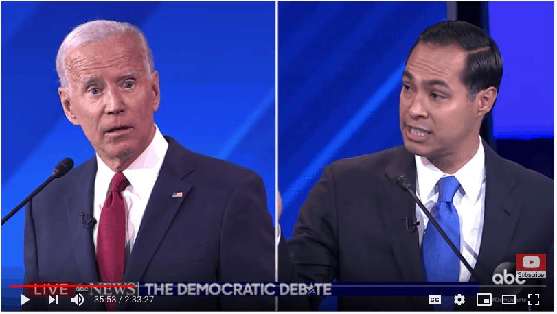 Julian Castro aggressive humor towards Biden.